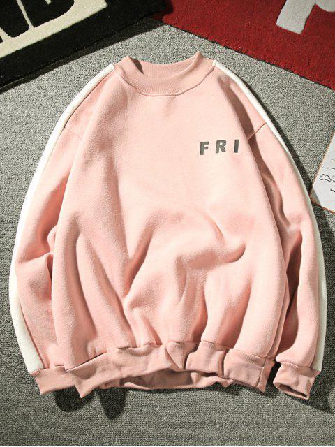 Sweat-shirt Lettre Rayé Contrasté en Laine - Rose Cochon M Mobile