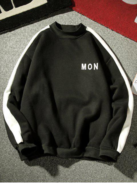 hot Contrast Letter Stripe Fleece Sweatshirt - BLACK XL Mobile