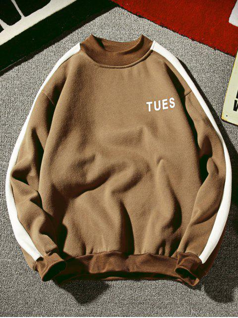 best Contrast Letter Stripe Fleece Sweatshirt - COFFEE S Mobile