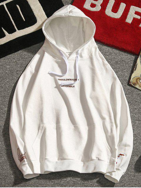 sale Letter Embroidery Drawstring Hoodie - WHITE XS Mobile