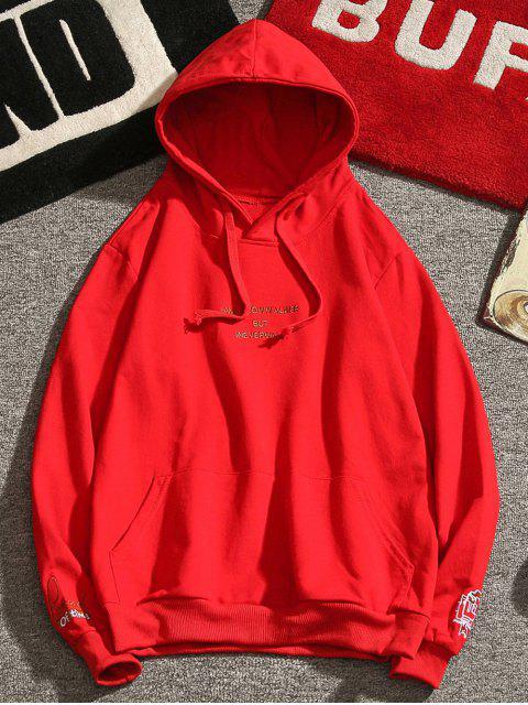 Sweat à capuche avec lettres et broderies - Rouge Lave S Mobile