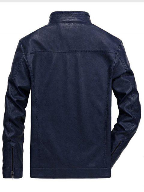 Veste Zippée en Couleur Unie en PU - Bleu profond L Mobile