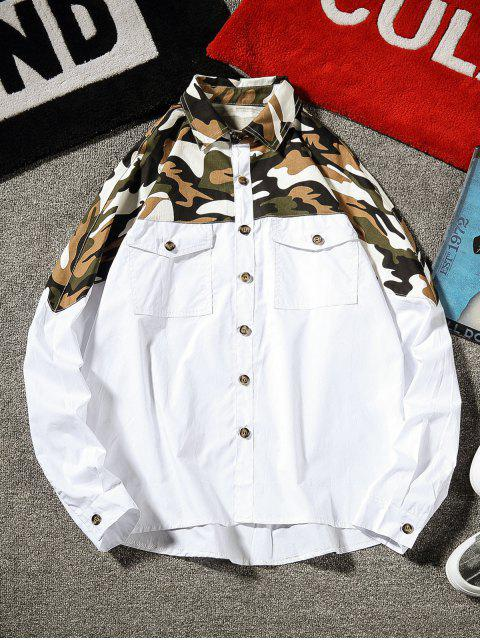 chic Top Camo Chest Pocket Shirt - WHITE 3XL Mobile