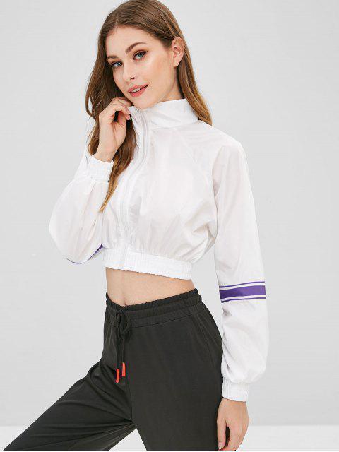 Sweat zippé à rayures et à rayures - Blanc M Mobile