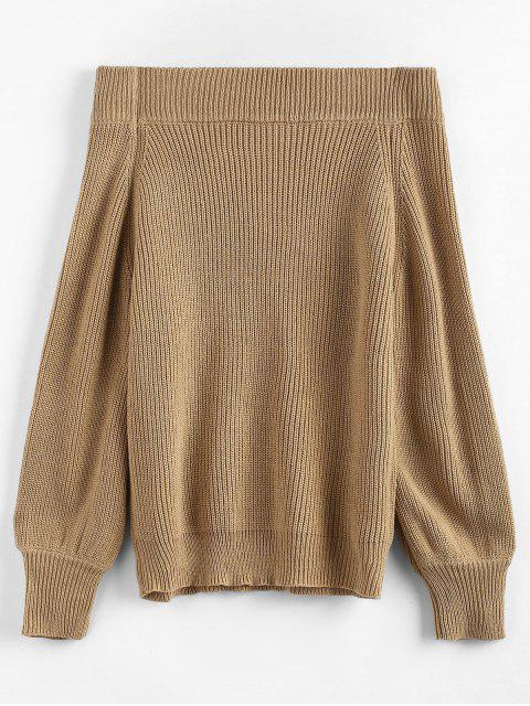 hot Off The Shoulder Lantern Sleeve Pullover Sweater - CAMEL BROWN ONE SIZE Mobile
