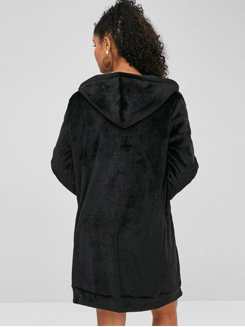 outfits Fluffy Longline Hooded Coat - BLACK XL Mobile