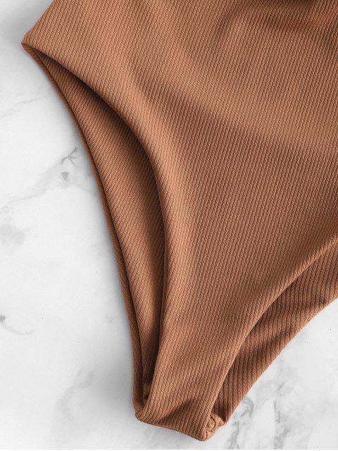 trendy ZAFUL Ribbed Twisted Plunging Swimsuit - ORANGE SALMON M Mobile