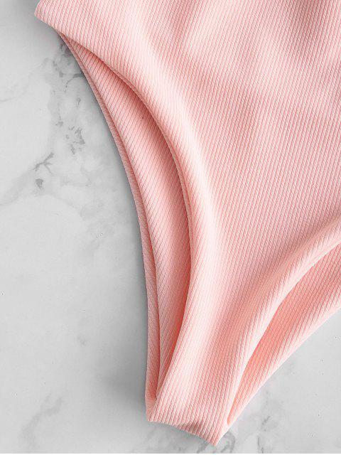 ZAFUL traje de baño hundido torcido acanalado - Rosa Claro S Mobile