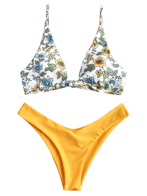 buy ZAFUL Floral Plunging Bikini Set - BRIGHT YELLOW S Mobile