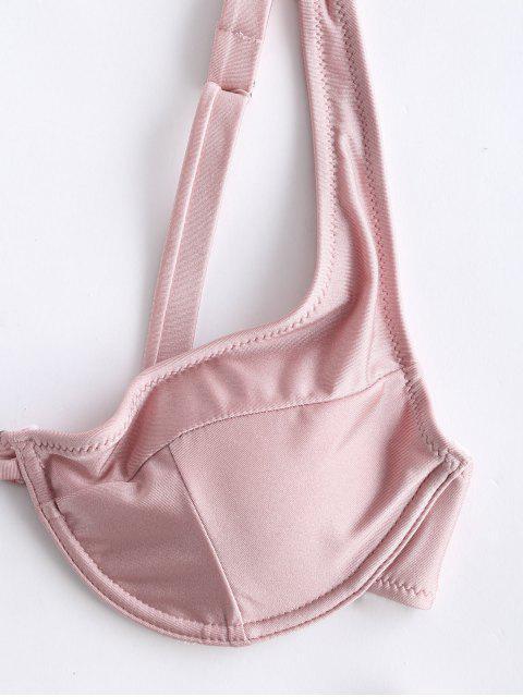 unique ZAFUL Shiny Underwire Bikini Set with Hair Band - ROSE M Mobile