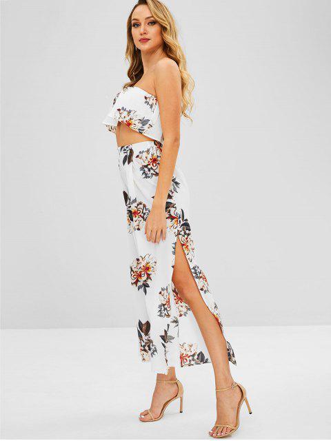 women Floral Bandeau Top and Split Pants - MILK WHITE M Mobile