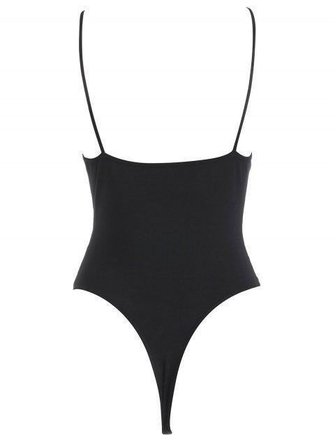 ladies Snap Crotch Cami Bodysuit - BLACK L Mobile