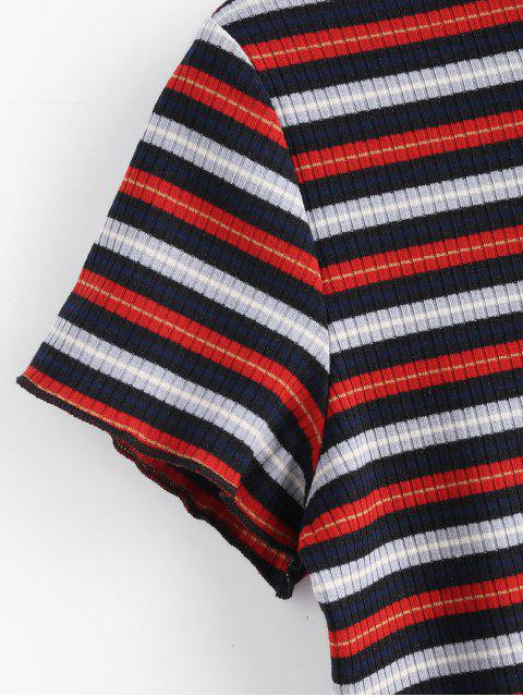 trendy Striped Ribbed Cropped Tee - MULTI S Mobile