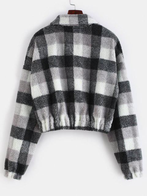Plaid Crop Faux Fur Sweatshirt - 멀티-A 에스 Mobile