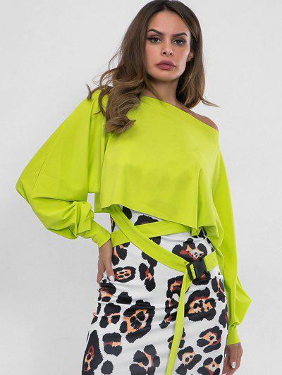 d7808bbf437 Skew Neck Belted Embellished Sweatshirt - Tea Green S