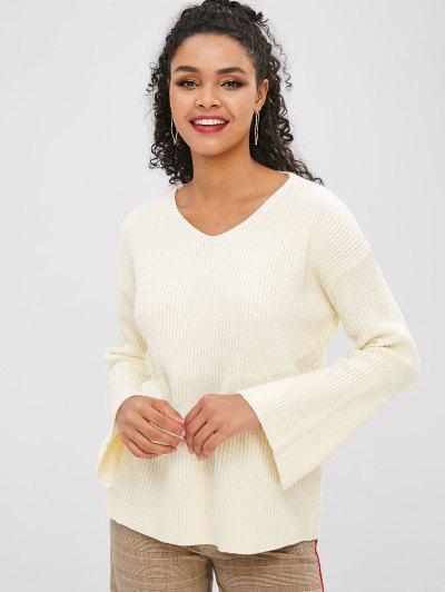 Slit Cuffs V Neck Drop Shoulder Sweater - Crystal Cream