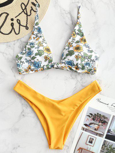 ZAFUL Floral Plunging Bikini Set - Bright Yellow S ... b221f5a46