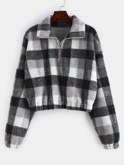 Plaid Crop Faux Fur Sweatshirt - Multi-a S