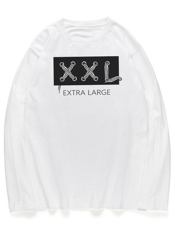 Letters Graphic Long Sleeves Crew Neck Shirt, White