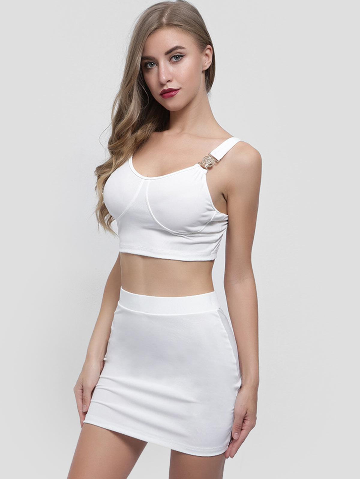 Crop Top and Cut Out Skirt Set