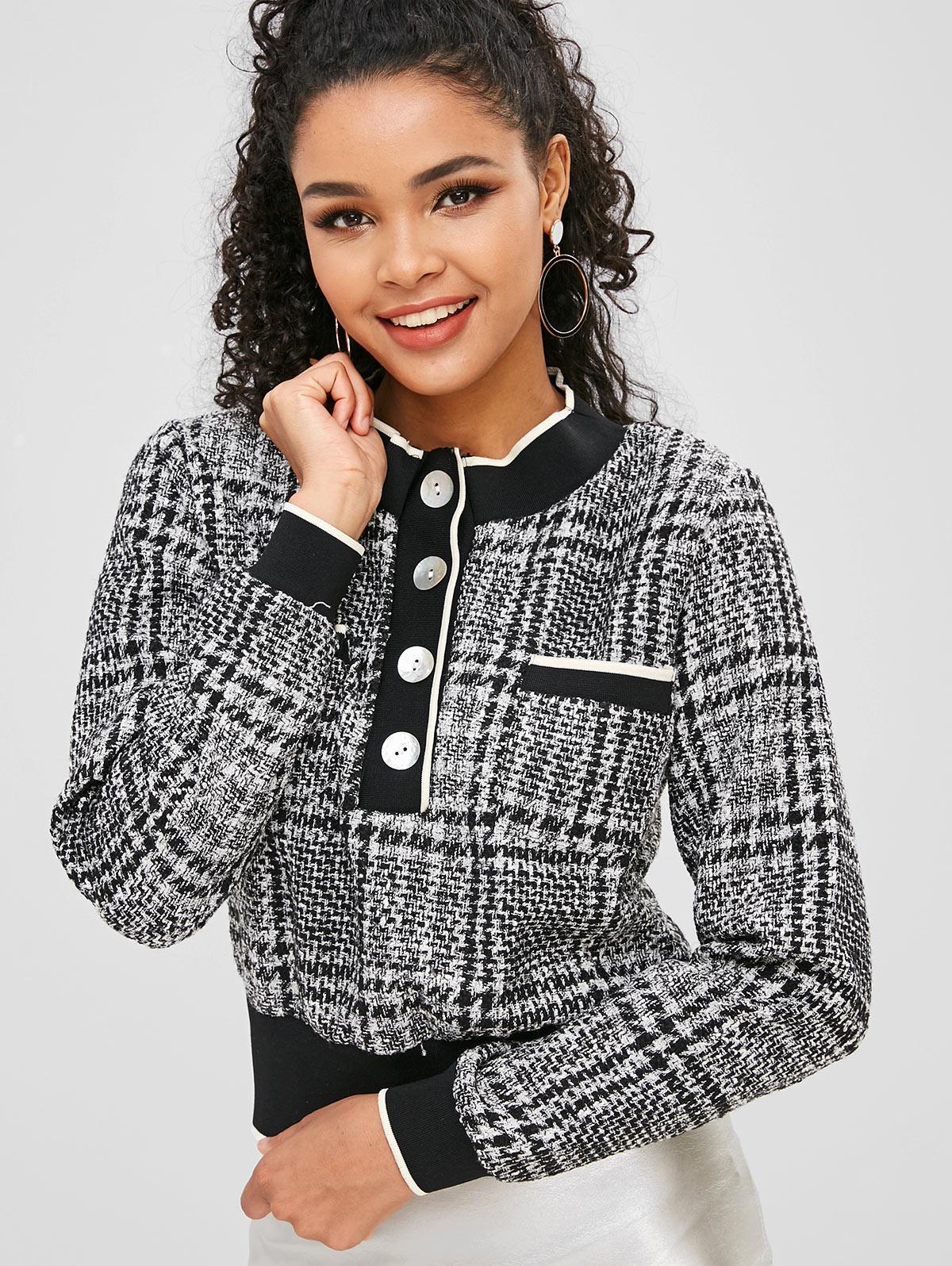 Half-button Tweed Sweatshirt