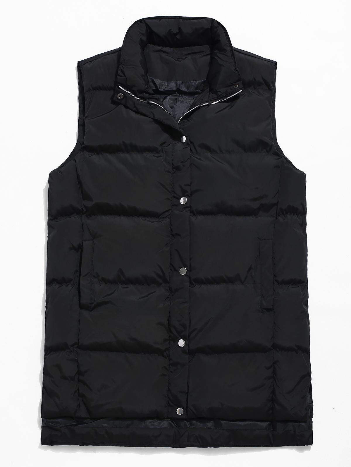Zip Fly Solid Color Padded Vest, Black