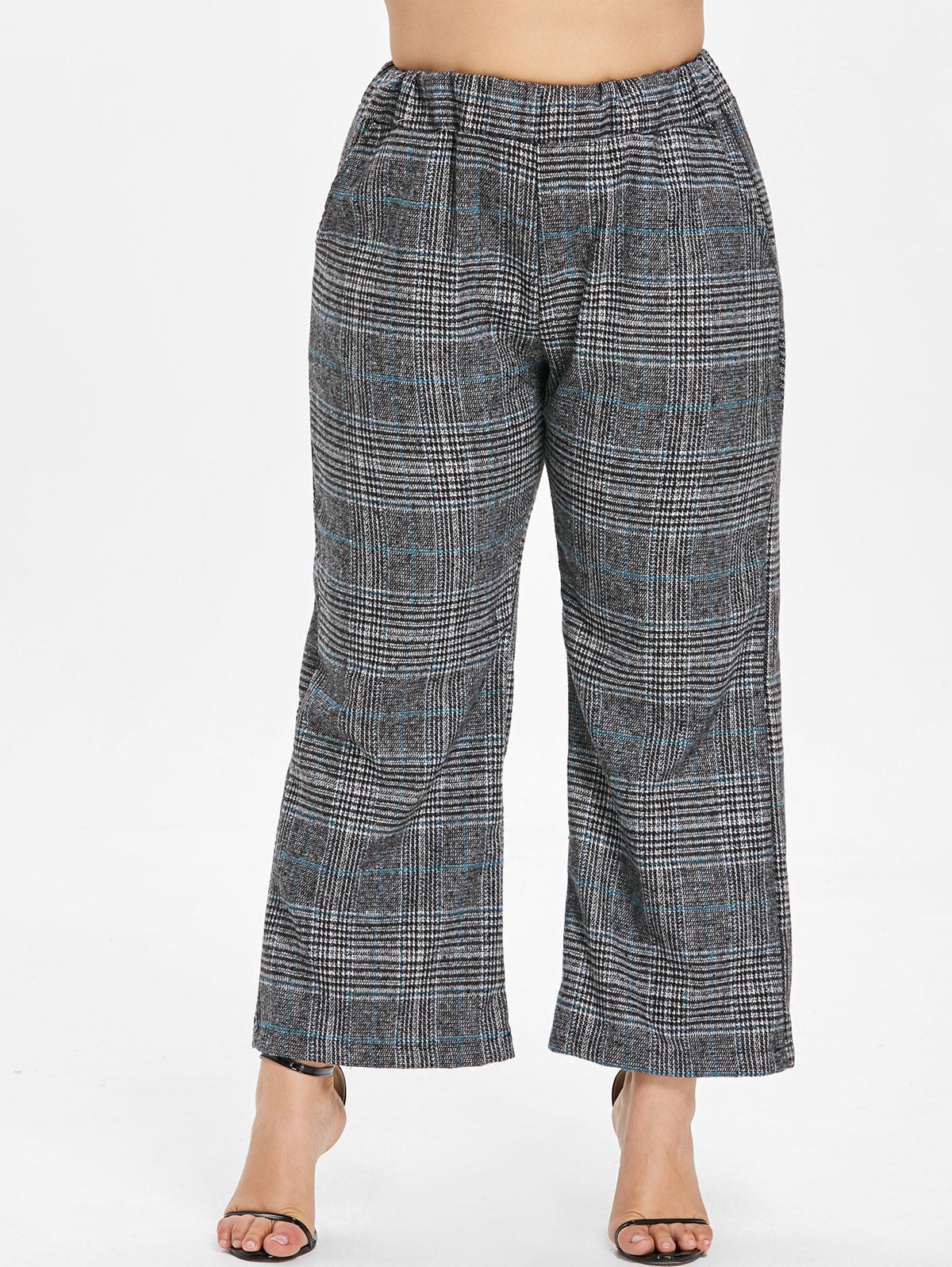 Plus Size Plaid Tweed Wide Leg Pants