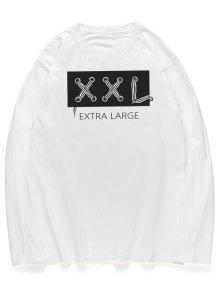 خطابات الجرافيك قميص طويل الأكمام الرقبة الطاقم - أبيض Xl