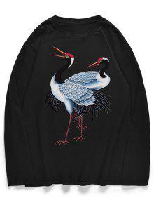 تيجان حمراء توج قميص مطبوع بأكمام طويلة - أسود M