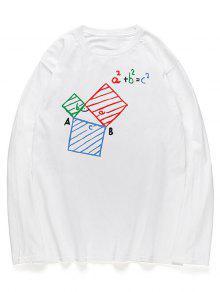 معادلة جرافيك هندسية طباعة قميص بأكمام طويلة - أبيض L