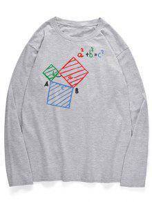 معادلة جرافيك هندسية طباعة قميص بأكمام طويلة - رمادي فاتح L