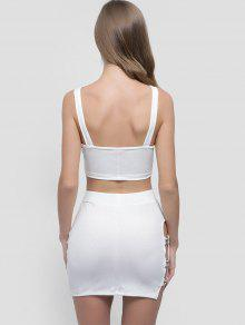 afd3c3d8fb26 26% OFF] 2019 Crop Top And Cut Out Skirt Set In WHITE | ZAFUL Canada
