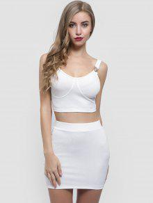 3b674261cbcc 26% OFF] 2019 Crop Top And Cut Out Skirt Set In WHITE | ZAFUL