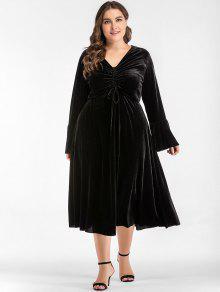 جمعت ميدي زائد حجم فستان المخمل - أسود 3xl