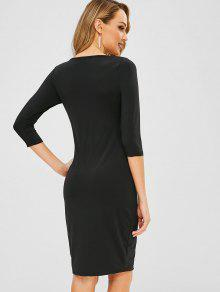 b381255fbac 48% OFF  2019 Robe Moulante Zippée En Laine Dans Noir