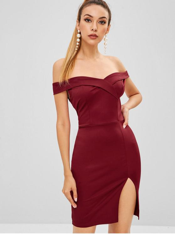 fashion Foldover Bodycon Mini Party Dress - RED WINE S
