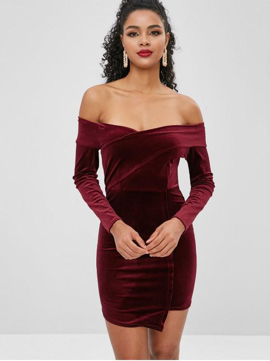 new Off Shoulder Mini Velvet Dress - FIREBRICK ONE SIZE