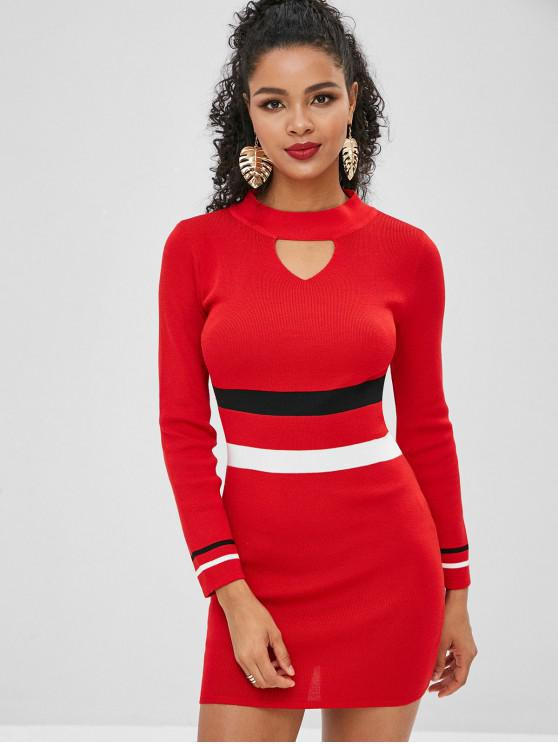 buy Tight Colorblock Mini Sweater Dress - LAVA RED ONE SIZE