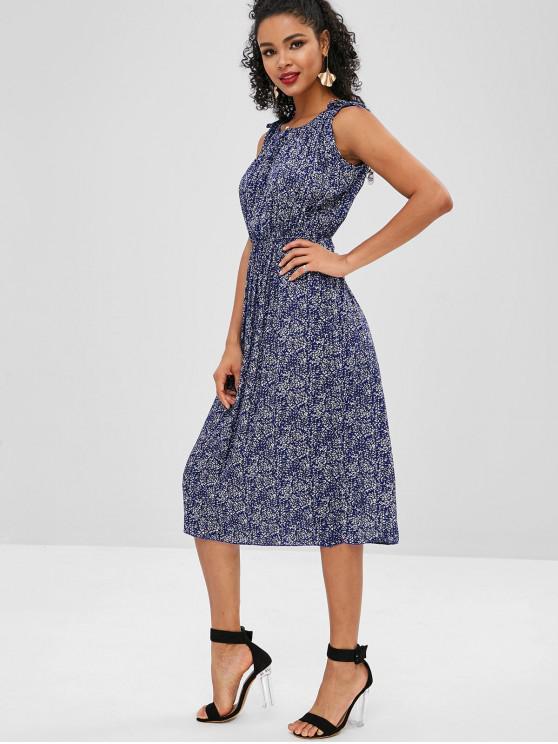 Robe Mi-Longue Fleurie Sans Manches - Bleu Myrtille S