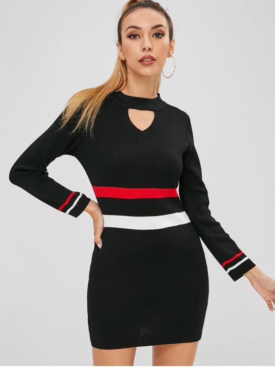 40d49d0648f9 45% OFF  2019 Tight Colorblock Mini Sweater Dress In BLACK