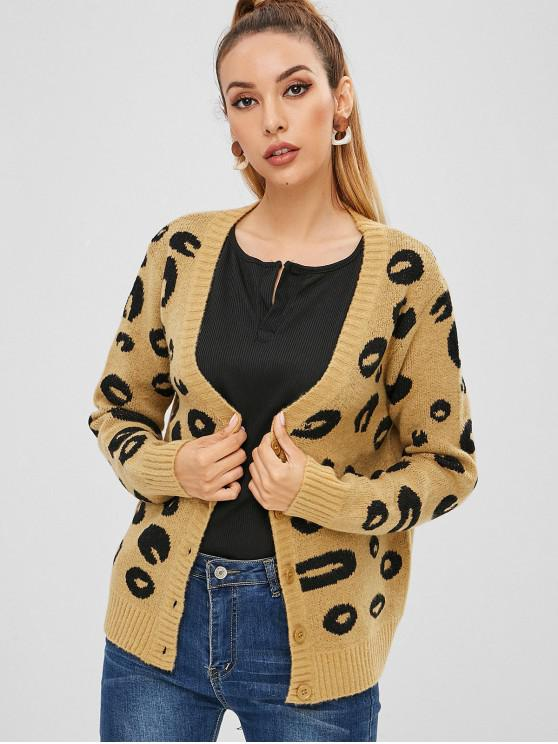 Leopard-Grafik-Cardigan - Braunes Kamel  Eine Größe