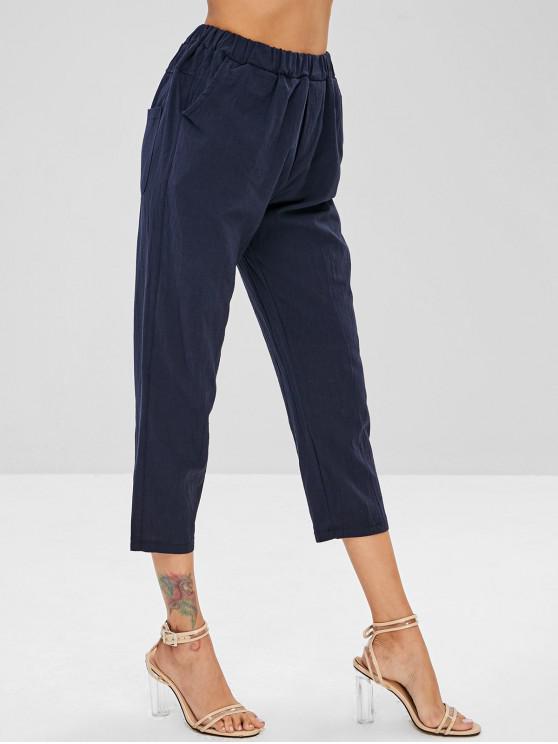 chic Plain Pockets Straight Pants - DARK SLATE BLUE XL