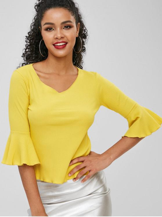 best Flare Sleeves V Neck Knitwear - CORN YELLOW ONE SIZE