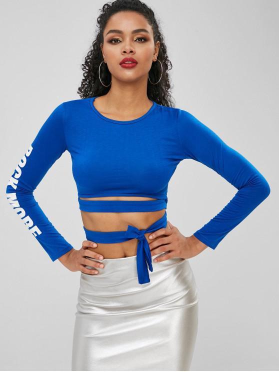 T-Shirt Corta Annodata Con Grafica Di Lettere ROCK MORE - Blu Mirtillo XL