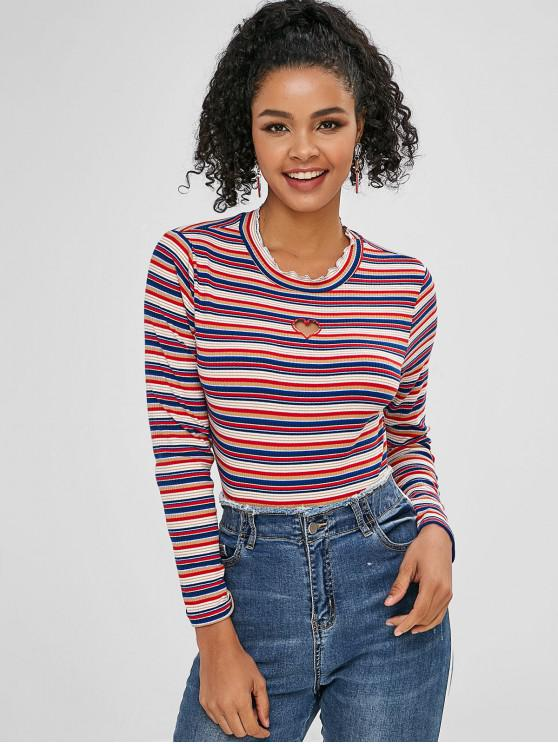 ladies Hollow Out Heart Embroidered Striped Tee - MULTI L