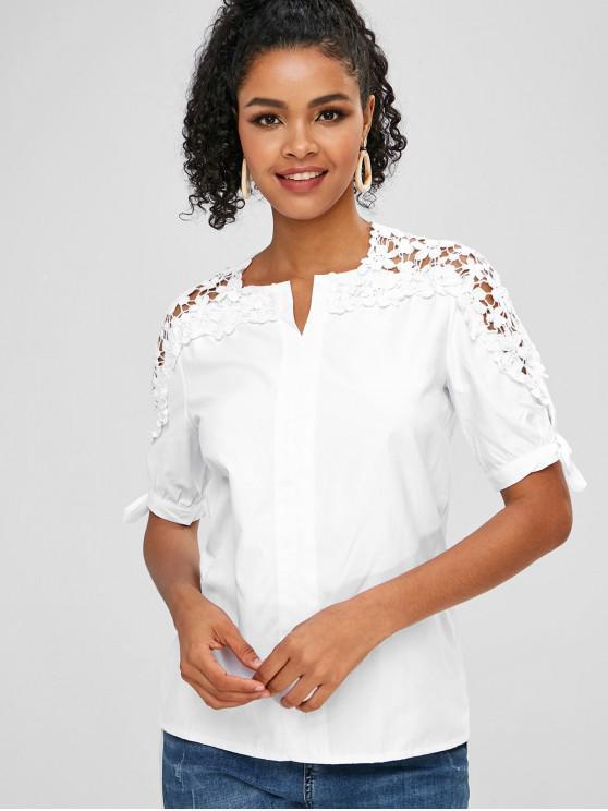 latest Knotted Crochet Panel Blouse - MILK WHITE XL