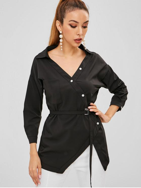 womens Pocket Belted Button Up Top - BLACK L