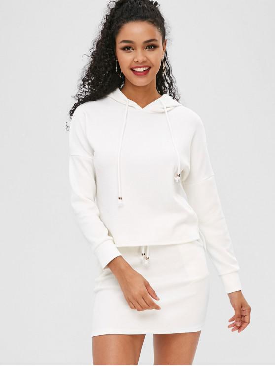 Cordão com nervuras vestido de duas peças - Leite Branco S