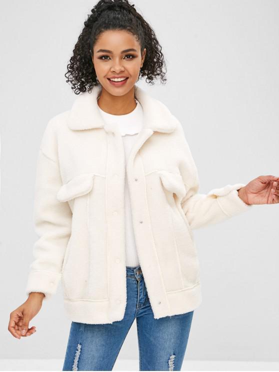 Manteau Teddy en Fausse Fourrure avec Poches - Blanc XL
