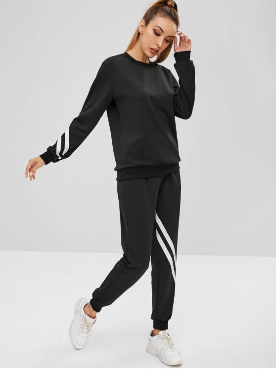 women Striped Jogger Sweatpants Set - BLACK S